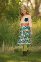 Persnickety Long Sleeve Girls Sage Dress with Hummingbird Skirt