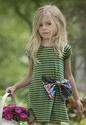 Persnickety Lucille Dress for Little Girls with Green and Blue Stripes
