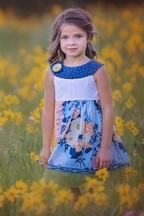 Persnickety Nellie Dress for Girls with Button