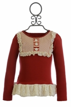 Persnickety Red Lou Lou Top with Lace Ruffle