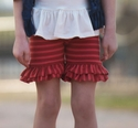 Persnickety Red Stripe Shorts Double Ruffle