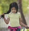 Persnickety Reese Top for Girls with Green Dots