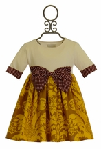 Persnickety Rose Tunic in Gold with Bow