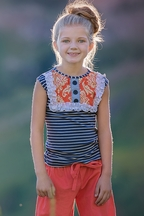 Persnickety Tank Top for Girls with Navy Stripes Lou Lou