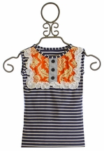 Persnickety Tank Top for Girls with Navy Stripes Lou Lou (12Mos & 2)
