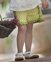 Persnickety Tillie Shorts for Girls with Green Dots