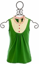 Persnickety Tuxedo Girls Top in Green