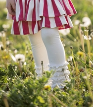 Persnickety White Ruffle Leggings for Girls Gracie