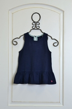 Pink Chicken Joy Peplum Tank in Navy
