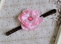 Pink Flower Headband - Girls Glitter Headband