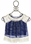 Pink Rock Blue Tie Dye Top with Crochet Accent for Girls