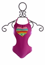 Planet Sea Girls One-Piece Bathing Suit with Side Cutouts (Size 10)