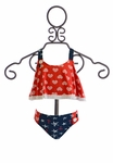 Planet Sea Girls Tankini Bathing Suit in Red White and Blue