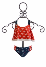Planet Sea Girls Tankini Bathing Suit in Red White and Blue (Size 14)