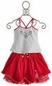 Pom Pom Navy Stripe Top and Red Skirt Set