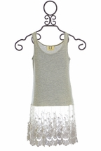 PPLA Designer Lace Tank Top in Gray