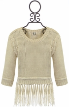 PPLA Ivory Sweater with Fringe