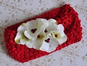 Red Mesh Headband with White Roses