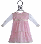 Romantique Bebe Baby Dress in Pink with Embroidered Overlay (9/12 Mos & 12/18 Mos)