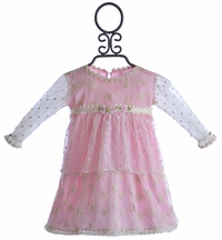 Romantique Bebe Baby Dress in Pink with Embroidered Overlay (Size 9/12 Mos)