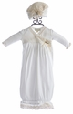 Romantique BeBe Fancy Baby Gown in Ivory with Hat