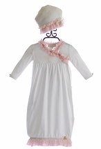 Romantique Bebe Infant Gown and Cap with Pink Fringe (Size 6-9Mos)