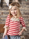 Sado Girls Red Striped Shirt with Crochet Ruffles