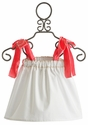 Sado Girls White Tunic with Coral Straps