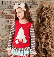 Sado Holiday Top for Girls in Vintage Christmas