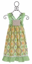 Sado Maxi Dress for Girls in Patterned Green