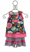 Sage and Lilly Girls Short Set in Blue Floral (4,5,6,7)
