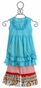 Sage and Lilly Little Girls Designer Tunic Set in Summer Blue