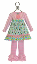 Sage and Lilly Pink Snowman Tunic and Ruffle Legging (18Mos,2T,3T,4T)