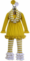 Serendipity Cotton Tunic with Stripe Pants in Yellow