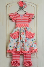 Serendipity Flutter Dress with Leggings in Coral