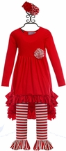 Serendipity Girls Hi Low Tunic and Leggings in Red