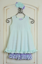 Serendipity Girls Ruffle Shorts with Tunic in Mint