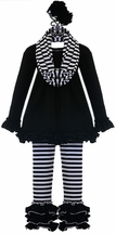 Serendipity Girls Ruffle Tunic Set in Black (12Mos,18Mos,5,8)