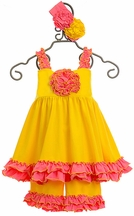 Serendipity Girls Tunic and Shorts Set in Yellow