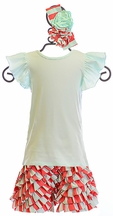 Serendipity Mint Top with Stripe Ruffle Shorts (2T,3T,4,5)