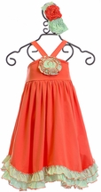 Serendipity Ruffle Rosette Dress in Coral