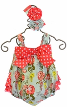 Serendipity Sweet Clementine Floral Baby Romper