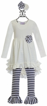 Serendipity Tunic Set for Girls with Ruffles and Rose