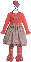 Serendipity Tunic Top for Girls with Ruffle Pants in Coral