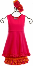 Serendipity Tunic with Ruffle Hem Set in Fuchsia
