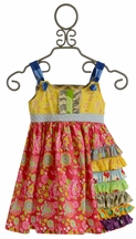 Servane Barrau Designs Girls Gypsy Dress with Flowers (Size 6/7)