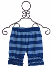 Servane Barrau Designs Little Girls Ruffle Shorts in Blue Stripes (Size 6/7)