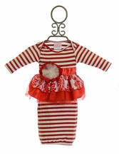 She Bloom Infant Gown for Girls in Red