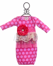 She Bloom Infant Gown Hot Pink Polka Dot (Newborn)