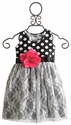 She Bloom Little Girls Polka Dot Lace Party Dress